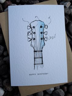 GUITAR Birthday Card by IsleofGB on Etsy, £2.50