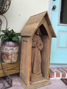 Larger grotto 32 in tall holds 2 ft St Francis, great use of sinker cypress…will age beautifully