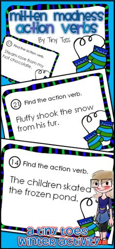 Looking for a fun way to review Common Core Language Arts standards for 2nd and 3rd Grade? These Winter themed Mitten Madness Action Verb Cards are an excellent review. I have used these in centers, as task cards, as partner work, a scoot game or taped around the room for a room search, find & answer. 40 cards. $