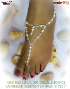 FABULOUS 1 PAIR Barefoot PEARL Beach Sandals, STYLE 7/USA Seller #WHS