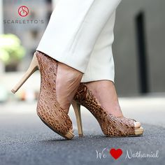 Womens Leather Beige Tan Crocodile Peep Toe Pump High Heel An ideal day-to-evening look, Scarletto's iconic crocodile textured print and its subtle nude and beige tones. Bold Colors, Colours, High Heels, Stilettos, Shoes Online, Classic Style, What To Wear, Feminine, Slip On