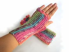 Mint and pink striped fingerless mittens  by TinyOrchids on Etsy