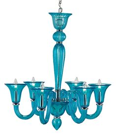 Turquoise Giustina Glass Chandelier at Currey & Co.   The Decorating Diva, LLC