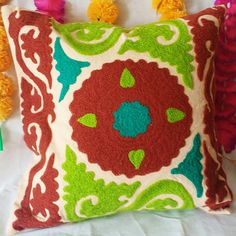 Indian Handmade Suzani Cushion Covers Decorative Pillow Cases Woolen Embroidered By Hands Pom Poms Colorful Vintage Look Square Cushions Handmade Pillow Covers, Handmade Cushions, Decorative Pillow Cases, Decorative Cushions, Umbrella Decorations, Turkish Design, Best Pillow, Boho Pillows, Embroidery Techniques