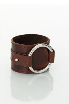 Hand made brown leather cuff with metal ring suede by LeatherRK, £26.00
