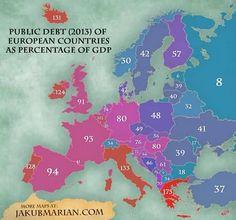 Deuda publica en paises europeos en relacion a su PIB— idealista/news