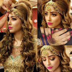 Discovered by Dream Girl. Find images and videos on We Heart It - the app to get lost in what you love. Pakistani Wedding Outfits, Pakistani Wedding Dresses, Wedding Dresses For Girls, Nikkah Dress, Bengali Bridal Makeup, Indian Bridal, Bridal Hair, Bridal Makup, Mehndi Dress