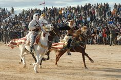"Barb horses racing in Douz, Tunisia. Native horses of the region may have been influenced by the crossing of ""oriental"" breeds, including the Arabian horse, Turkoman Horse or Akhal-Teke, and Caspian horse, with Iberian horses brought back from Europe by the Berber invaders after they conquered southern Spain. Today the several varieties of Barb include the Algerian, Moroccan, and Tunisian."