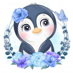 Adorable Penguins, 80 Best Free Graphics on Freepik Baby Animal Drawings, Cute Drawings, Cute Images, Cute Pictures, Beautiful Pictures, Baby Animals, Cute Animals, Vintage Wedding Stationery, Watercolor Flower Background