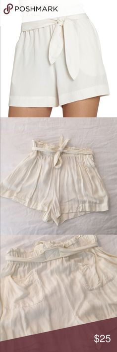 BCBGeneration High Waisted Cream Shorts Only worn once! Women's BCBGeneration high waisted cream shorts. Women's size small. Has pockets in the back. 100% rayon. BCBGeneration Shorts