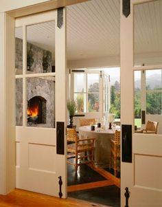 Pocket doors between living room and kitchen or between the living room and hallway old for Doors to separate kitchen from living room