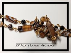 Agate Lariat Necklace and Earrings Rock Necklace, Lariat Necklace, Earrings, Beaded Bracelets, Necklaces, Agate, Rocks, Free Shipping, Jewelry