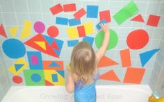 Craft Foam Bath Block- cut up craft foam into varying shapes - it sticks to the wall and will dry out between baths.