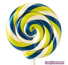 Blue & Green Swirl 2-Ounce Lollipops: 12-Piece Box