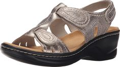 Clarks Women's Lexi Walnut Q Gold Metallic Sandal 6 D - Wide >>> Find out more details by clicking the image - Outdoor sandals Sport Sandals, Wedge Sandals, Clarks Sandals, Metallic Sandals, Outdoor Woman, Back Strap, Sports Women, Wedges, Heels