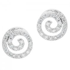 Spiral Studs - 18ct White Gold/Diamonds #diamonds #diamond #jewellery #lovely #gift #catherinejones #cambridge #local #spiral #earrings #studs