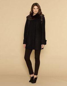 Kate Boucle Fur Collar Coat