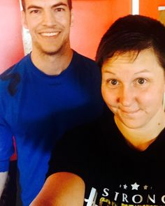 """There are very few """"boys"""" in my life that I trust. This guy has officially become one of them.  Nicholls thank you for creating me an #awesome #workout of @battlingropes #ViPR @trxtraining #AussieRows @ultimatesandbag giving me space to vent and having ZERO #judgments about my #fitness / #weight status. #EvenTrainersNeedTrainers (Oh and I'm wearing my favorite shirt @stopchasingpain !) And a #shoutout to @scoscheinc - LOVE my #Rhythm #strapless #heartrate #monitor! Coach Kimmie"""