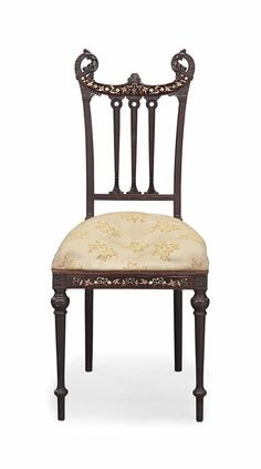 AN AESTHETIC MOVEMENT MARQUETRY-INLAID CARVED MAHOGANY SIDE CHAIR - ATTRIBUTED TO HERTER BROTHERS (W. 1864-1906), NEW YORK, CIRCA 1885
