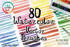 80 Watercolor Vector brushes by Tatiana Kost design on Creative Market