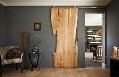 Live Edge Door Wood Slab Doors Barn Board Sliding by TreeGreenTeam