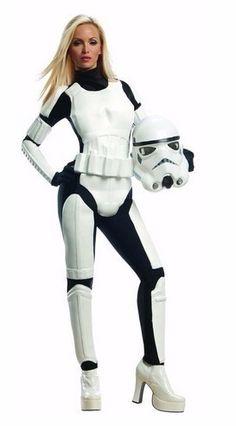 disfraz stormtrooper star wars p/ dama - mascara y traje