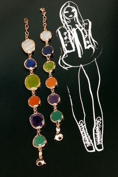 a Richard Peter Winnett fashion illustration complements multicolor bracelets from Rina Limor Sunrise collection.