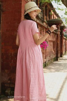 Pink Maxi Linen Dress Pleated Pintuck Dress Pink Dress Long