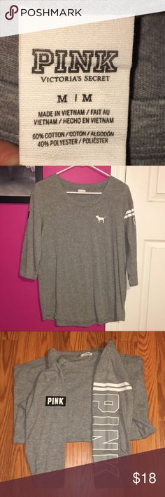 Grey Mid Sleeve Victoria's Secret Pink Shirt. Grey Mid Sleeve Victoria's Secret Pink Shirt with Black and White Lettering. PINK Victoria's Secret Tops Tees - Long Sleeve