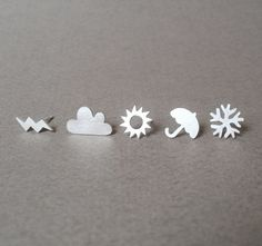 sterling silver weather forecast ear studs set of 6 by huiyitan. £42.00 GBP, via Etsy.