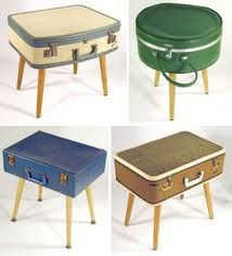 The kitchy side of midcentury Make cocktail tables outta that old suitcase. The legs are perfect for the 50's look. That green table looks early Barbie to me