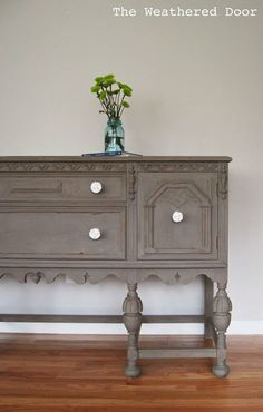 A driftwood buffet makeover with white knobs + Chalk Paint                                                                                                                                                      More
