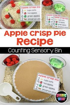 Apple Crisp Pie Recipe Cards Add some math to your sensory bin with these recipe cards to go along with an apples preschool theme Preschool Apple Activities, Preschool Apple Theme, Counting Activities, Autumn Activities, Toddler Preschool, September Preschool Themes, Preschool Apples, Sensory Activities For Preschoolers, Fall Preschool Activities