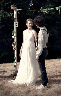 Eva y Daniel, al principio de la ceremonia.
