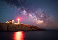 ZacharyZahnPhotography.com - Cape Neddick Lighthouse, York ME, March 5, 2017. 3 long exposures combined in order to view the Milky Way this clearly. Stunning!