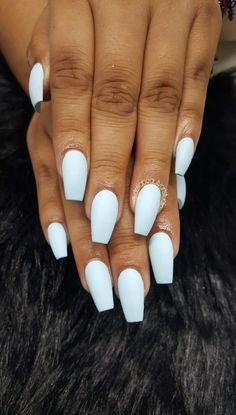 Baby blue nails, acrylic nails
