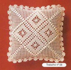 images attach c 7 96 429 Crochet Cushion Cover, Crochet Pillow Pattern, Crochet Motifs, Crochet Cushions, Crochet Blocks, Crochet Cross, Crochet Stitches Patterns, Crochet Art, Crochet Squares