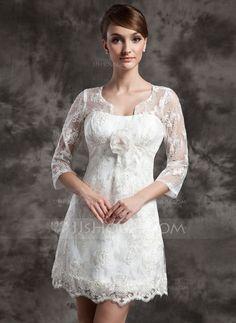 Wedding Dresses - $149.99 - A-Line/Princess Scoop Neck Short/Mini Charmeuse Lace Wedding Dress With Flower(s) (002014998) http://jjshouse.com/A-Line-Princess-Scoop-Neck-Short-Mini-Charmeuse-Lace-Wedding-Dress-With-Flower-S-002014998-g14998