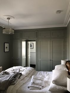 Wardrobe over en-suite entrance - Oak veneer and hand painted Shaker doors in Farrow & ball blue grey 91 Bedroom Built In Wardrobe, Painted Wardrobe, Bedroom Wardrobe, Modern Luxury Bedroom, Luxurious Bedrooms, Farrow And Ball Blue Gray, Blue Grey, Farrow And Ball Bedroom, Blue Gray Bedroom