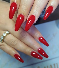 Long Red Nails, Red Matte Nails, Red Acrylic Nails, Acrylic Nail Designs, Red Nail Designs, Dream Nails, Love Nails, Gorgeous Nails, Pretty Nails