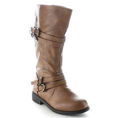 Beston CA48 Children Girl's Classical Block Heel Buckle Knee High Riding Boots, Color:KHAKI, Size:11 M US Little Kid