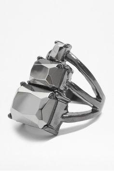 Stacked Hematite Ring
