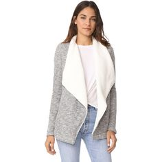Z Supply The Sherpa Sweater Cardigan ($88) ❤ liked on Polyvore featuring tops, cardigans, white cardigan, jersey top, white long sleeve top, sherpa cardigan and pocket cardigan