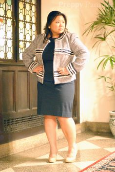 Tory Burch Rosemary jacket and M.M. LaFleur Lydia dress