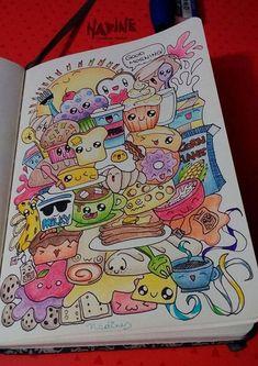 """Doodle art - """"Yummy Morning"""" - - - Dora A. Cute Doodle Art, Doodle Art Designs, Doodle Art Drawing, Cute Art, Disney Art Drawings, Kawaii Drawings, Cartoon Drawings, Easy Drawings, Cute Drawings Tumblr"""