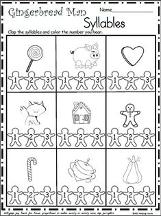 Free Christmas Gingerbread Syllables Worksheet Students say and clap out the syllables in word, then they color the matching number on the gingerbread man. This free sample comes from my Gingerbrea… Prek Literacy, Kindergarten Worksheets, Preschool Activities, Rhyming Worksheet, Printable Worksheets, Christmas Worksheets, Preschool Christmas, Syllable, Christmas Gingerbread