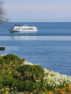 Schiff,  Fähre auf dem Bodensee vor Überlingen