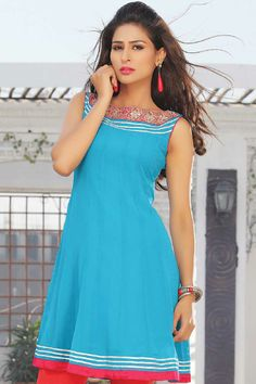 Deep Sky Blue Chiffon Embroidered Party and Festival Kurti Sku Code:338-3459KT321208 Price: $46