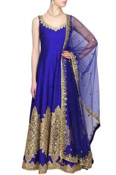 Blue color Mirror Embroidered Anarkali