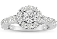 1 3/5ct Halo Diamond Engagement Ring Crafted in 14 Karat White Gold